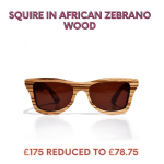 Squire sunglasses in African zebrano wood