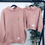 two hoodies in pink colour for mum and child