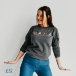 young lady wearing a trendy embroidered round neck